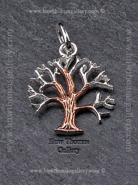 Silver & Rose Gold Celtic Tree of Life Pendant / Necklace