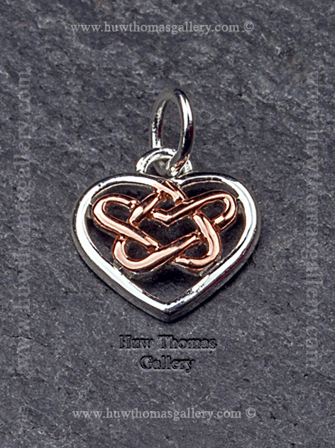 Silver & Rose Gold Celtic Heart  Pendant / Necklace