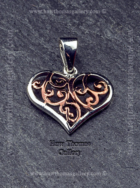 Silver & Rose Gold Heart Pendant / Necklace