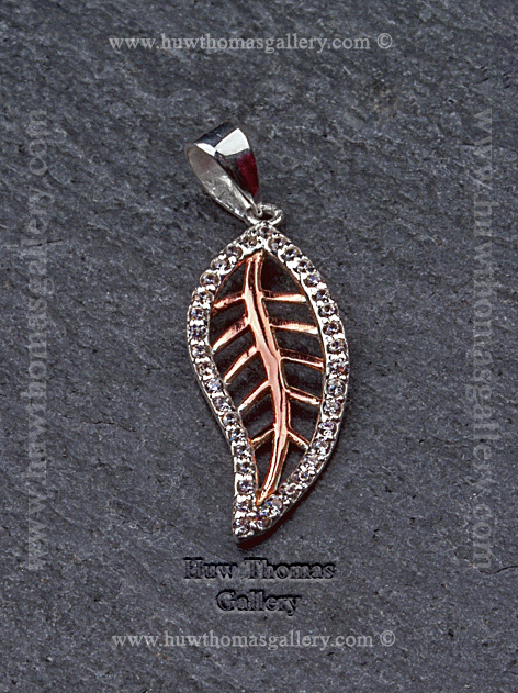 Silver & Rose Gold Diamante Leaf Pendant / Necklace