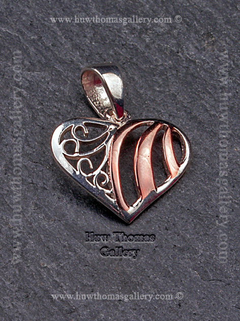 Silver & Rose Gold Heart Shaped Pendant / Necklace