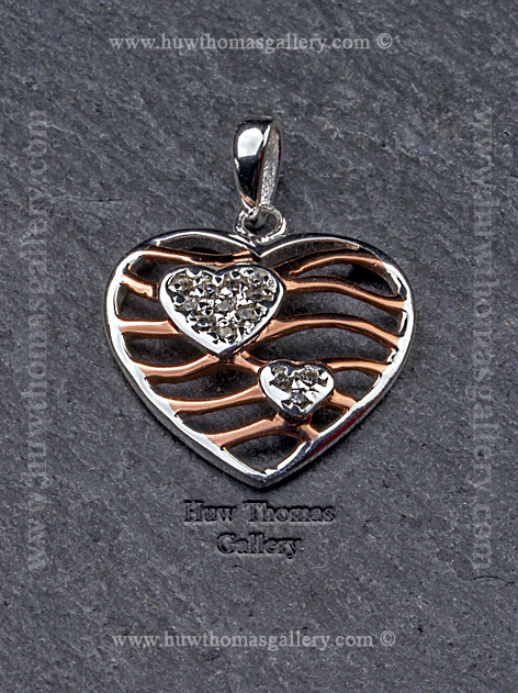 Silver & Rose Gold Heart Shaped Stone Set Pendant / Necklace