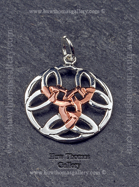 Silver & Rose Gold Celtic Pendant / Necklace