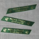 dark green personalised wedding confetti green printed satin ribbon confettin with wedding names