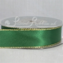 Green 25mm wide Gold Edge Satin Ribbon