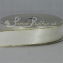 Ivory 25mm wide Gold Edge Satin Ribbon