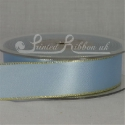 Light Blue 25mm wide Gold Edged Satin Ribbon