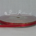 RED 7mm Gold Lurex Edge satin ribbon roll