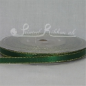 GREEN 7mm Gold Lurex Edge satin ribbon - 20m roll