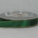 Green with gold edge satin ribbon roll