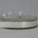 White 15mm with gold edge, satin ribbon roll