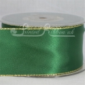Green satin ribbon with Gold lurex edge