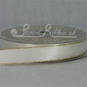 15mm ivory satin ribbon with gold edge lurex edge ivory double faced satin ribbon 15mm by 20m roll