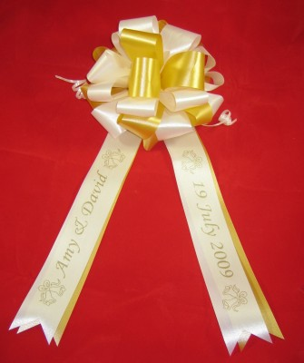 WBPFWHITEGOLD02 White and Gold Hand Made Florist Pew / Civil Ceremony / Reception / Venue bow with FREE personalisation