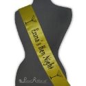 Yellow besoke personalised printed satin 100mm wide hen night sash printed hen night sash