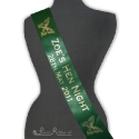 Emerald Green Satin 100mm bespoke personalised hen night sash