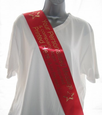 CSASHRED Custom Printed RED 100mm Single Faced Satin Personalised Promotional Sash - print your own message