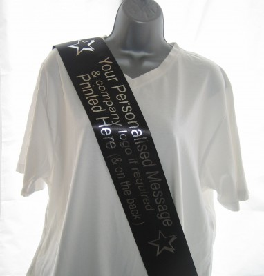CSASHBLACK BLACK 100mm Single Faced Satin Personalised Promotional Sash - (for multiple use)