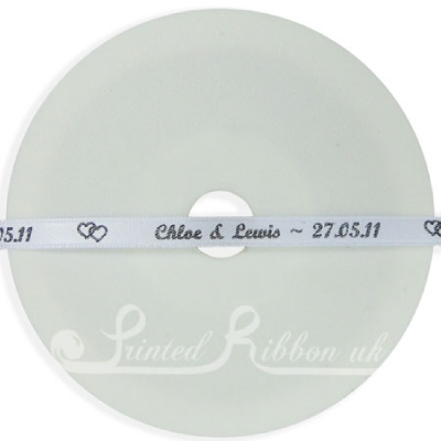 PR7WHTE25M 25m Roll of Personalised, Custom Printed 7mm Wide  WHITE d/f Satin Ribbon - Choose your print colour