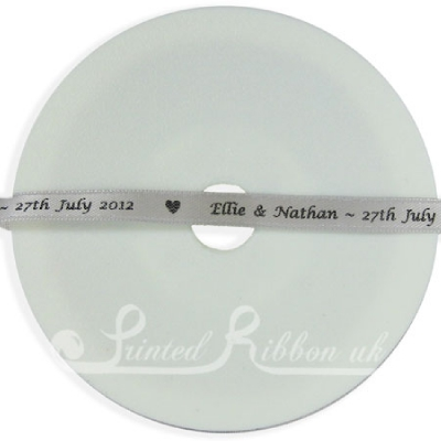 PR7SLVR25M 25m Roll of Personalised, Custom Printed 7mm Wide SILVER d/f Satin Ribbon - Choose your print colour