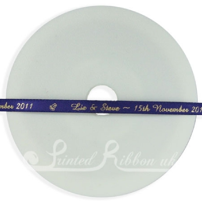 PR7PURP25M 25m Roll of Personalised, Custom Printed 7mm Wide PURPLE d/f Satin Ribbon - Choose your print colour