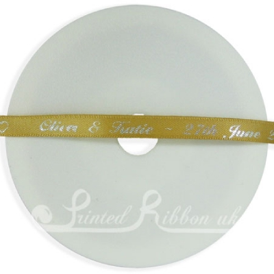 PR7GOLD25M 25m Roll of Personalised, Custom Printed 7mm Wide GOLD d/f Satin Ribbon - Choose your print colour