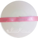 10mm wide hot pink custom printed bespoke personalised double faced satin ribbon 20m roll length