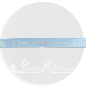 PR10LBLU25M LIGHT BLUE 10mm Personalised Printed Satin Ribbon - 25m Roll