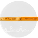 10mm Orange custom printed personalised bespoke printed double faced satin ribbon 25m roll