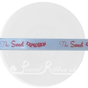 15mm baby blue satin printed ribbon, personalised printed ribbon, bespoke ribbon 25m roll