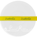 15mm wide yellow custom printed customised personalised printed double faced satin ribbon yellow printed ribbon