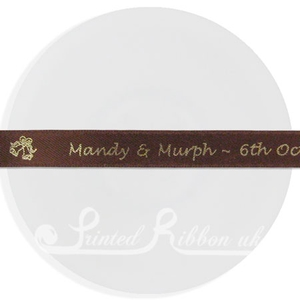 PR15CFFE25M BROWN 15mm Personalised Printed Satin Ribbon - 25m Roll