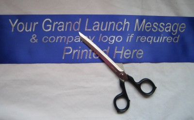 BGRANDRBLUE1M 1M ROYAL BLUE Grand Launch / Relaunch Custom Printed Satin Ribbon Company Banner 100mm wide - Print your own message