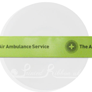 PR25LGRN25M LIME GREEN  25mm Personalised Printed Satin Ribbon - 25m Roll