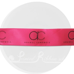 PR25FUCH25M FUCHSIA double faced Personalised Printed Satin Ribbon - 25m Roll