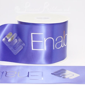 PR100RBLU50M 50m roll of personalised, printed 100mm wide ROYAL BLUE Single faced (s/f) satin ribbon