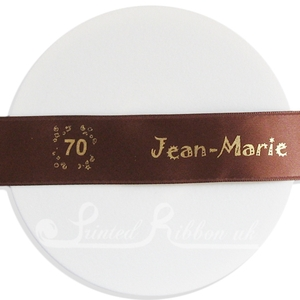 PR25CFFE25M BROWN 25mm Personalised Printed Satin Ribbon - 25m Roll