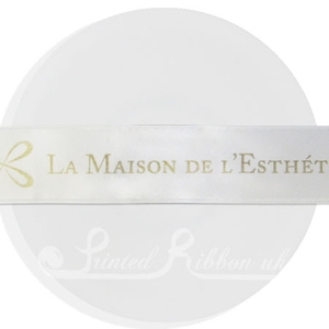 PR25WHTE25M WHITE 25mm Personalised Printed Satin Ribbon - 25m Roll