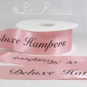 50mm Light Pink, custom printed, bespoke, personalised, double faced satin ribbon 50m roll cheap price