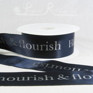 PR50NBLU50M NAVY BLUE 50mm Personalised Printed Satin Ribbon - 50m Roll