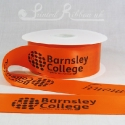50mm Bright Orange, printed ribbon 50m roll bespoke personalised printed satin ribbon