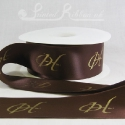 50mm wide brown custom printed personalised bespoke printed double faced satin ribbon 50m roll length bulk price