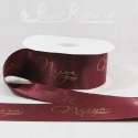 50mm burgundy printed satin ribbon personalised printed double faced satin ribbon 50m roll