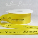 50mm wide yellow bespoke printed double faced satin ribbon 50 metre roll length