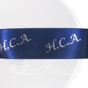 38mm navy blue 50m roll personalised printed double faced satin ribbon