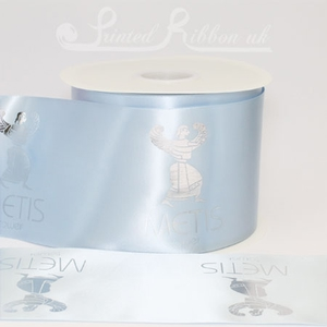 PR100LBLU50M 50m roll of personalised, printed 100mm wide LIGHT BLUE Single faced (s/f) satin ribbon