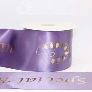 PR100PURP50M 50m roll of personalised, printed 100mm wide PURPLE Single faced (s/f) satin ribbon