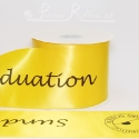 100mm wide bespoke printed yellow satin ribbon 50m roll