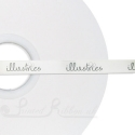 50m roll 10mm wide white logo custom printed personalised white printed ribbon