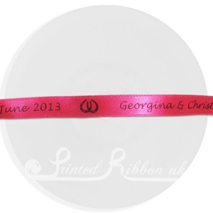 PW10FUCH25M FUCHSIA 10mm Personalised Printed wedding ribbon - 25m roll double faced satin ribbon for wedding favour gifts and favours